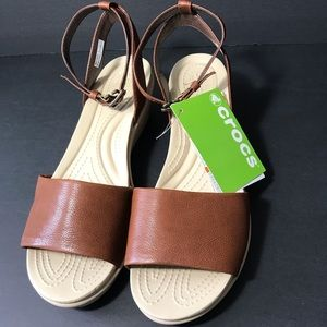 CROCS, Leigh Ann Ankle Strap Leather Sandals, NWT